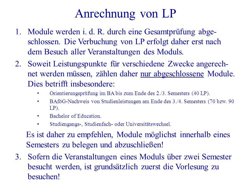 Anrechnung von LP