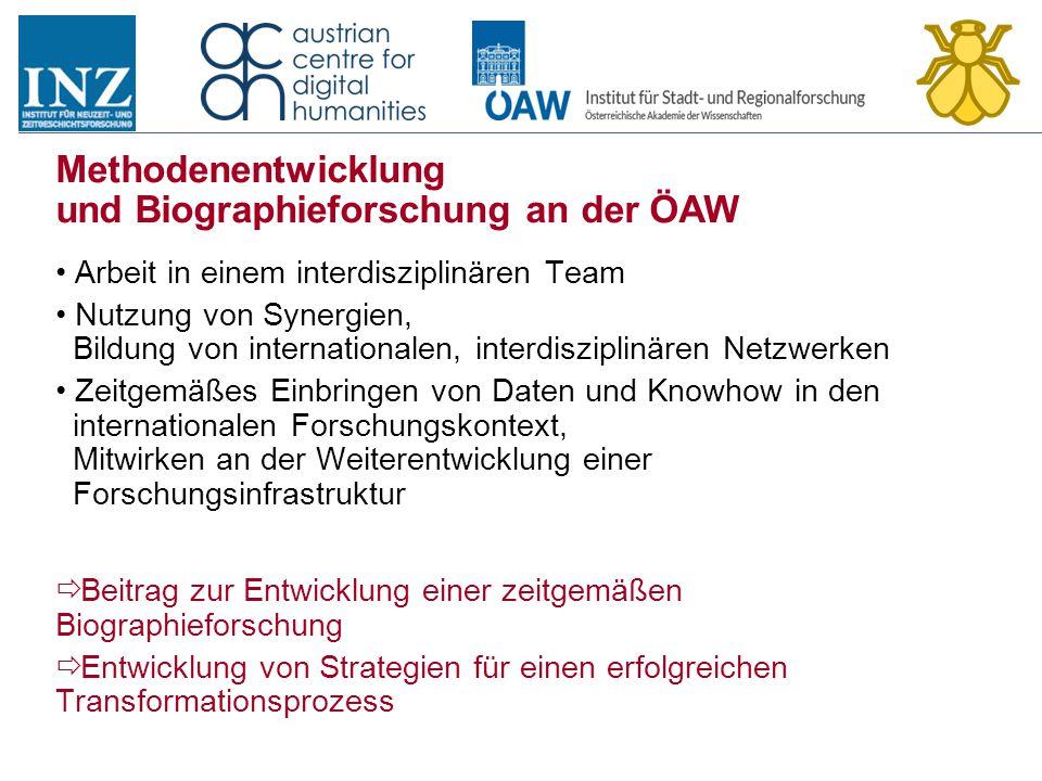 Methodenentwicklung und Biographieforschung an der ÖAW