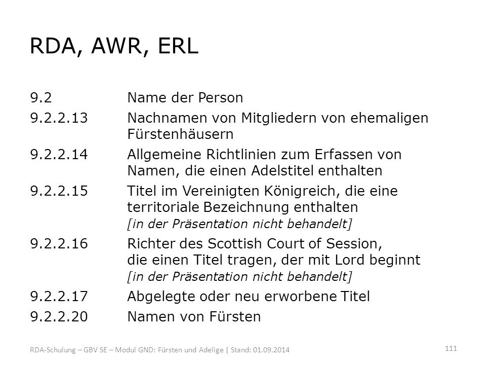 RDA, AWR, ERL 9.2 Name der Person