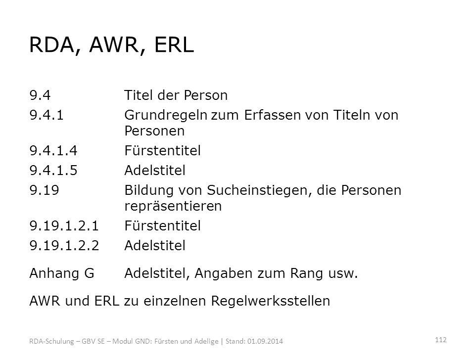 RDA, AWR, ERL 9.4 Titel der Person