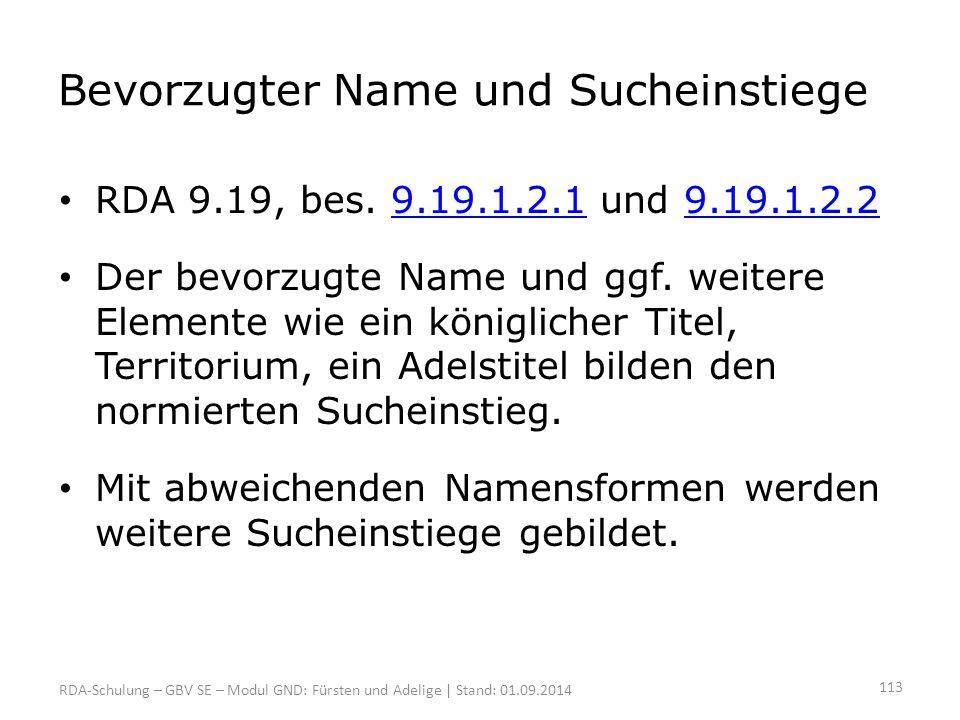 Bevorzugter Name und Sucheinstiege