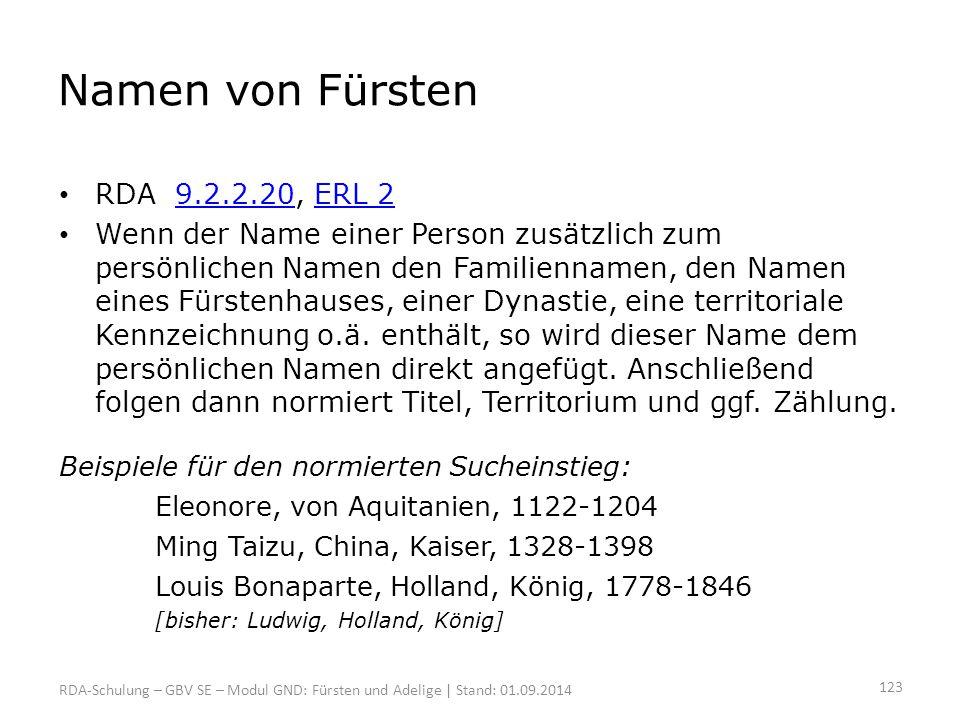 Namen von Fürsten RDA 9.2.2.20, ERL 2