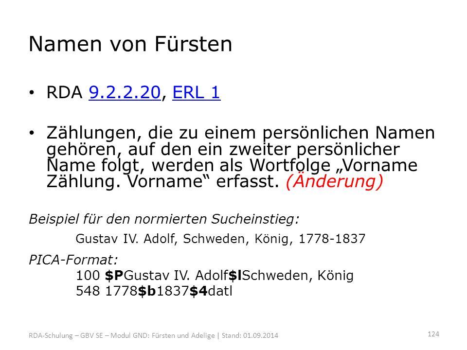 Namen von Fürsten RDA 9.2.2.20, ERL 1