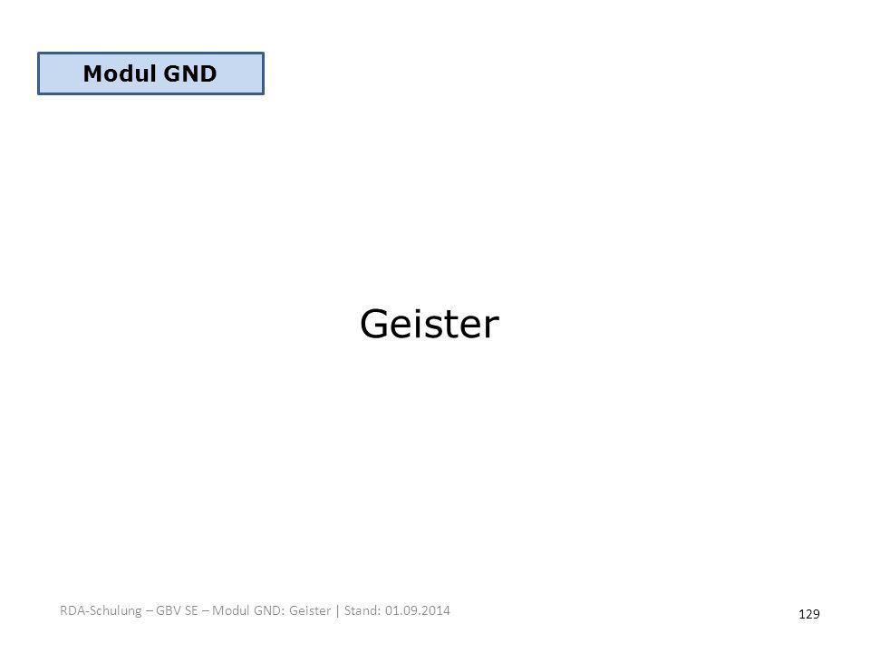 Modul GND Geister RDA-Schulung – GBV SE – Modul GND: Geister | Stand: 01.09.2014 129