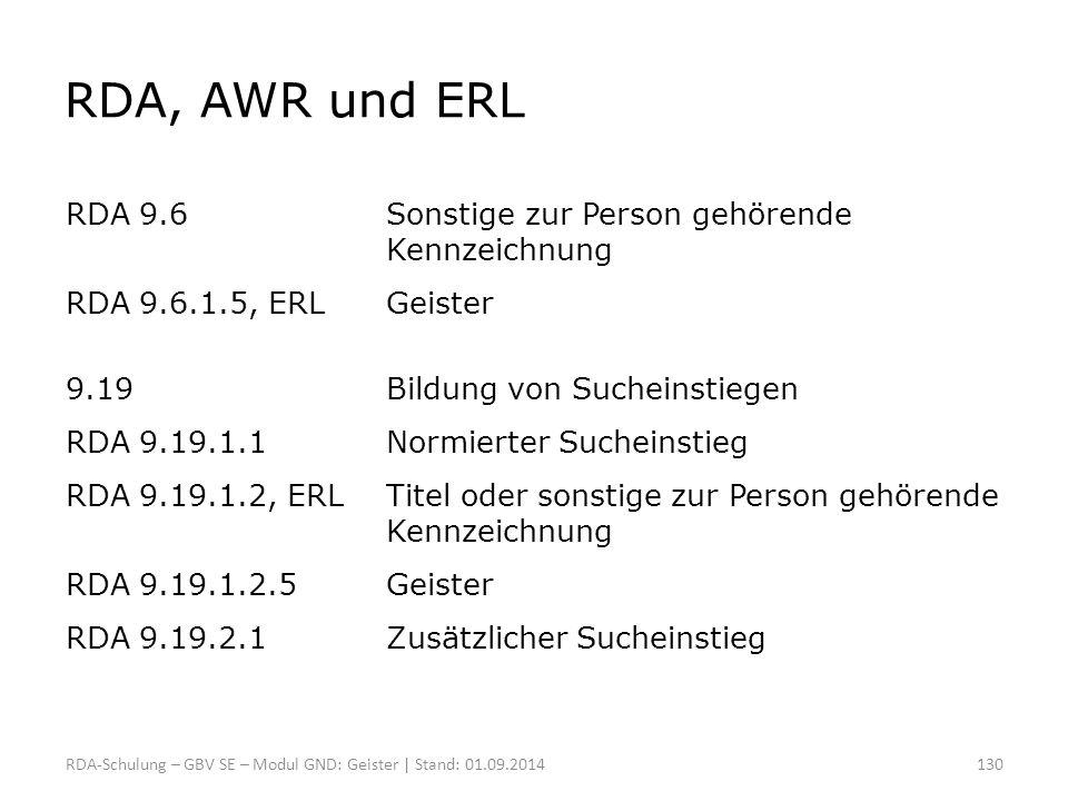 RDA, AWR und ERL RDA 9.6 Sonstige zur Person gehörende Kennzeichnung