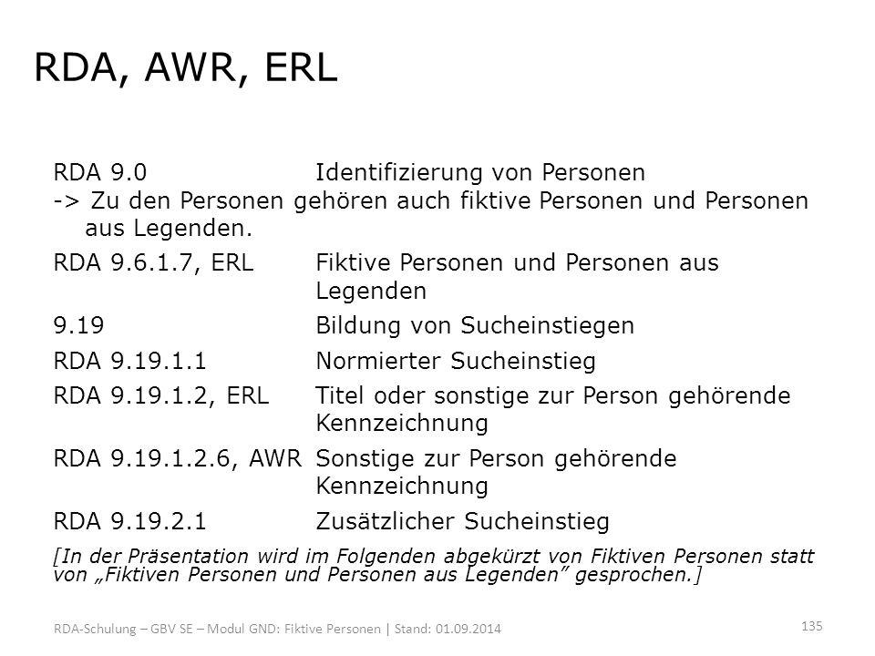 RDA, AWR, ERL RDA 9.0 Identifizierung von Personen -> Zu den Personen gehören auch fiktive Personen und Personen aus Legenden.