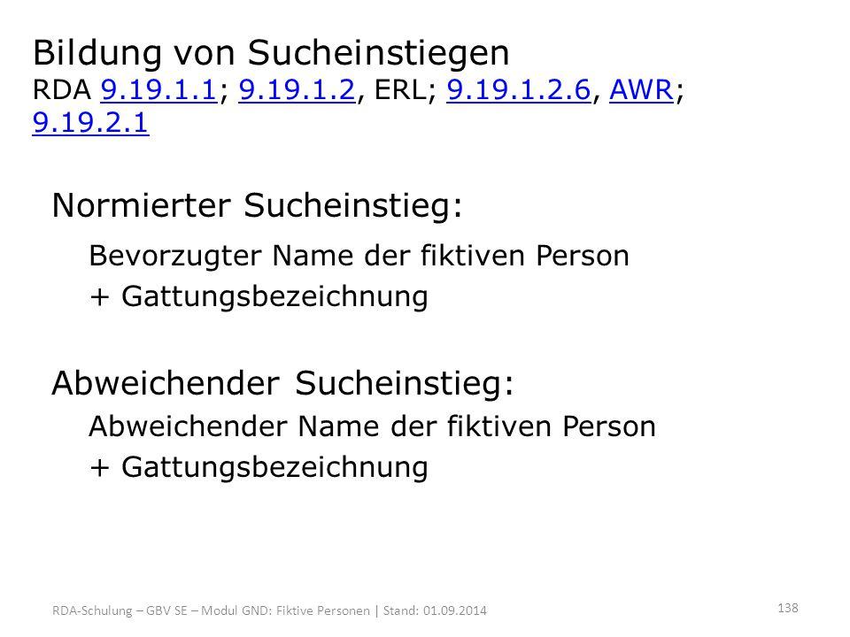 Bildung von Sucheinstiegen RDA 9. 19. 1. 1; 9. 19. 1. 2, ERL; 9. 19. 1