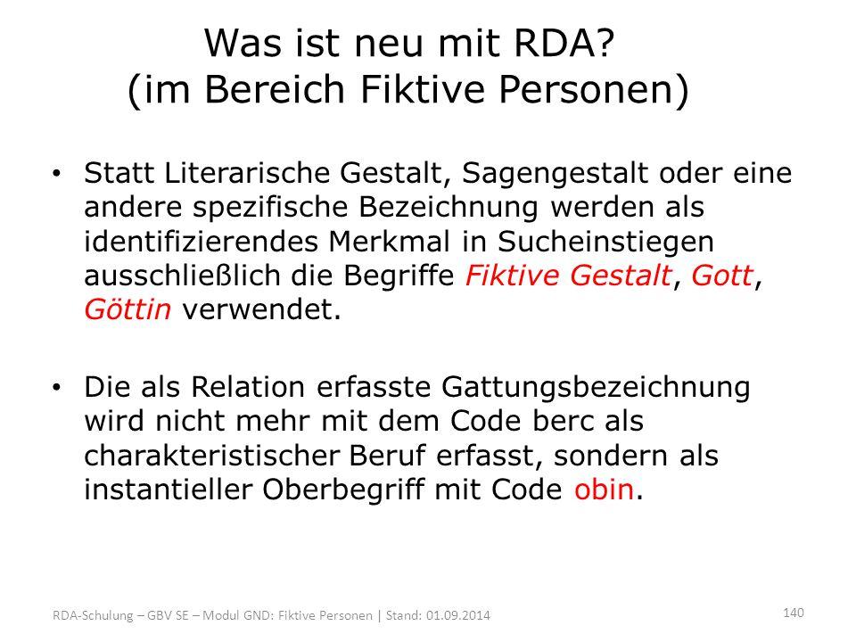 Was ist neu mit RDA (im Bereich Fiktive Personen)