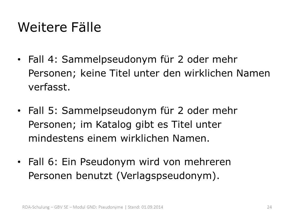 Weitere Fälle Fall 4: Sammelpseudonym für 2 oder mehr Personen; keine Titel unter den wirklichen Namen verfasst.
