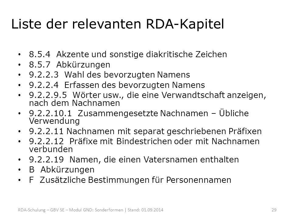 Liste der relevanten RDA-Kapitel