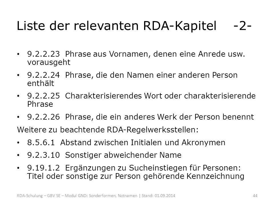 Liste der relevanten RDA-Kapitel -2-