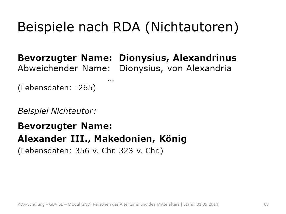 Beispiele nach RDA (Nichtautoren)