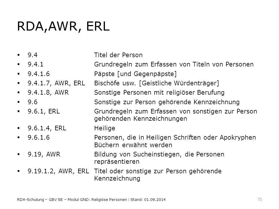 RDA,AWR, ERL 9.4 Titel der Person