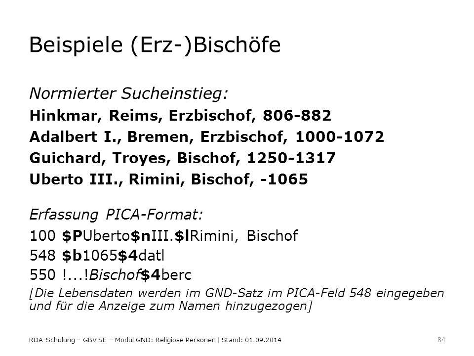 Beispiele (Erz-)Bischöfe
