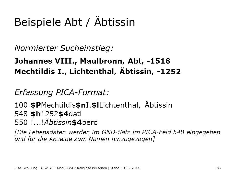 Beispiele Abt / Äbtissin