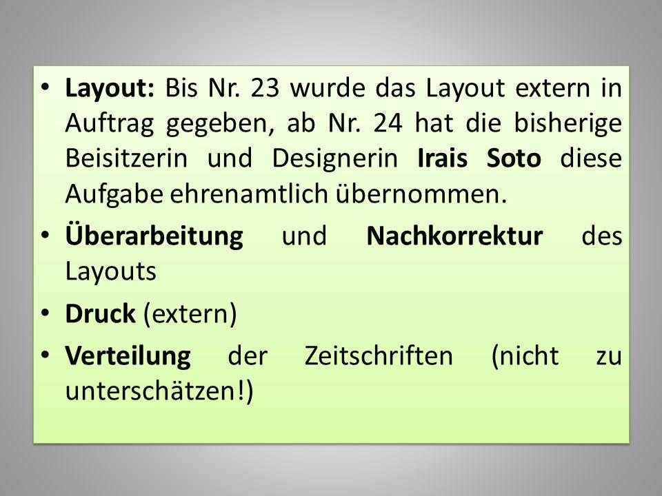 Layout: Bis Nr. 23 wurde das Layout extern in Auftrag gegeben, ab Nr