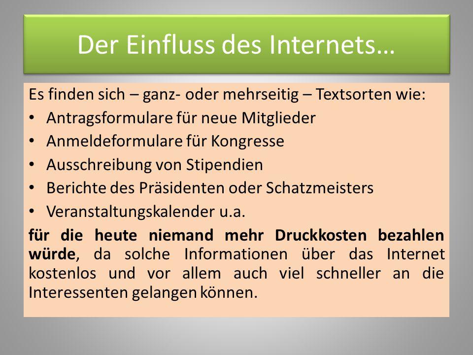 Der Einfluss des Internets…