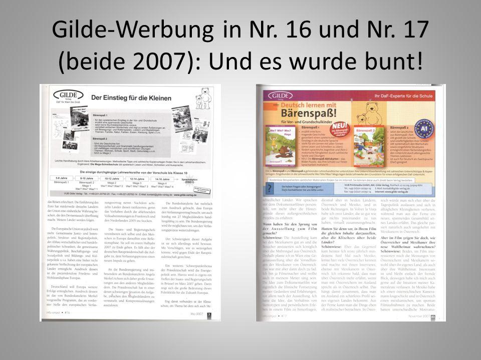 Gilde-Werbung in Nr. 16 und Nr. 17 (beide 2007): Und es wurde bunt!