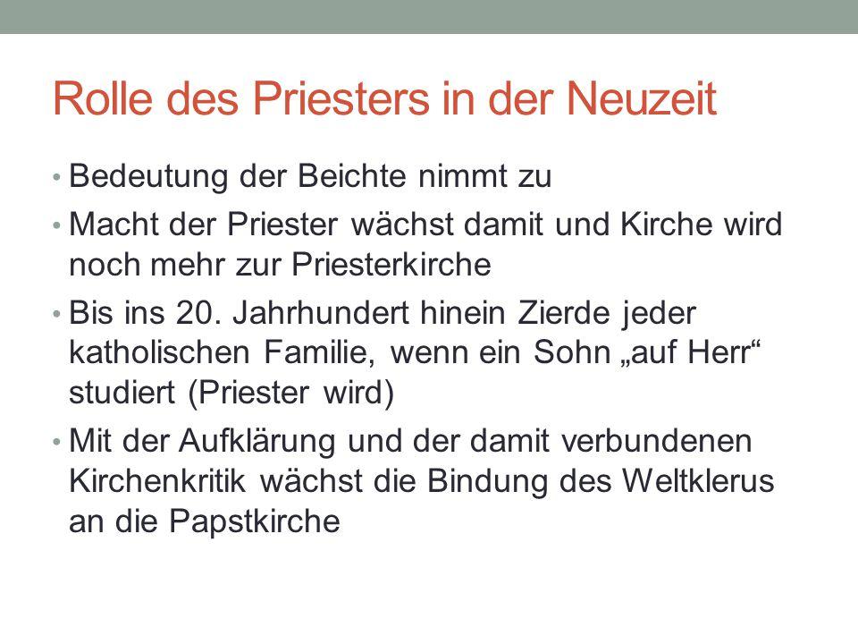 Rolle des Priesters in der Neuzeit