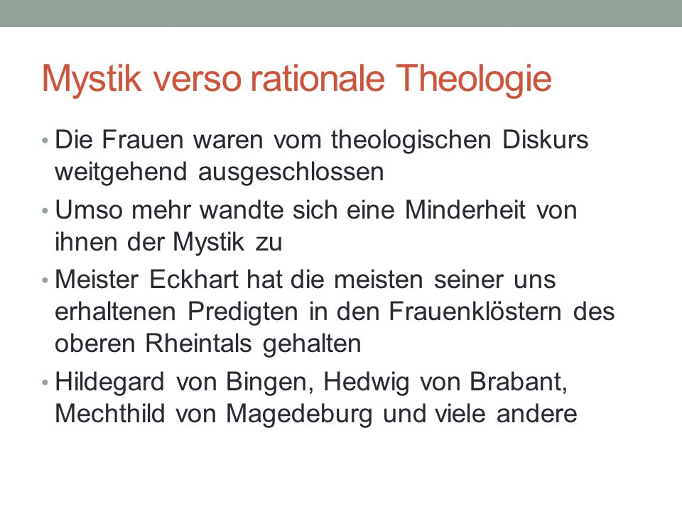 Mystik verso rationale Theologie
