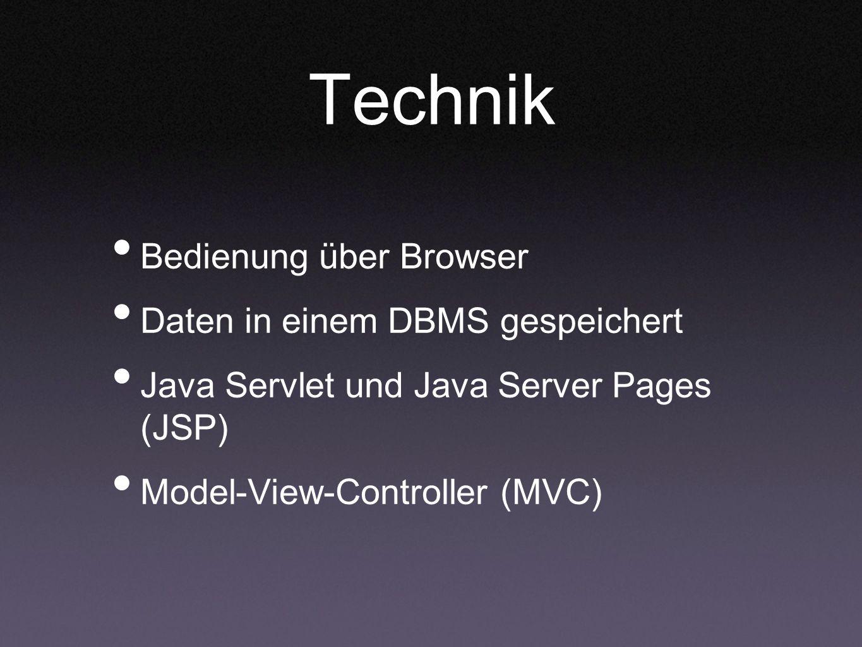 Technik Bedienung über Browser Daten in einem DBMS gespeichert