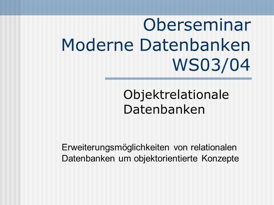 Oberseminar Moderne Datenbanken WS03/04