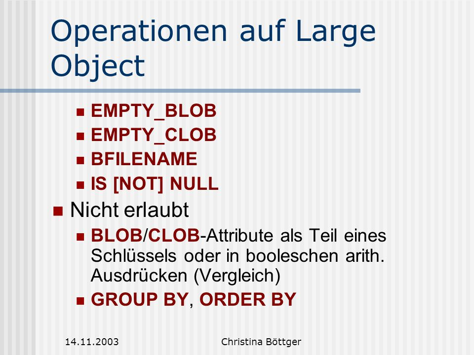 Operationen auf Large Object