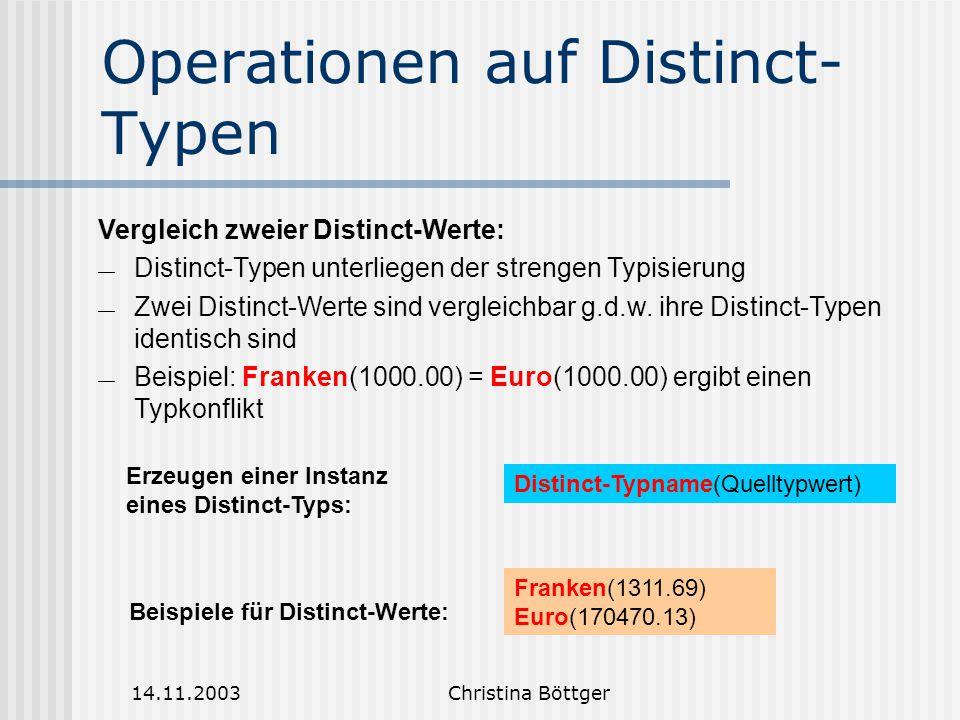 Operationen auf Distinct-Typen
