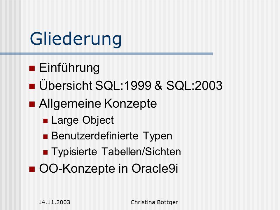 Gliederung Einführung Übersicht SQL:1999 & SQL:2003