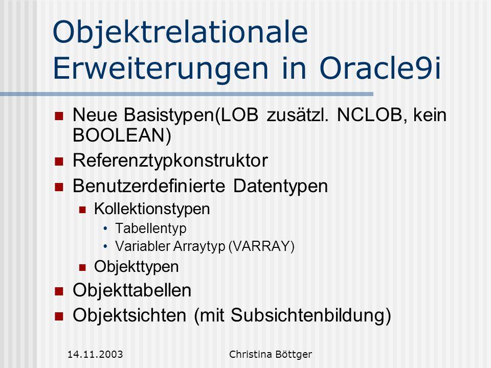 Objektrelationale Erweiterungen in Oracle9i