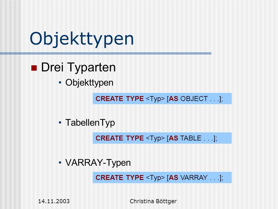 Objekttypen Drei Typarten Objekttypen TabellenTyp VARRAY-Typen