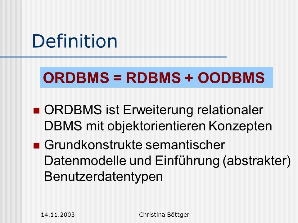 Definition ORDBMS = RDBMS + OODBMS
