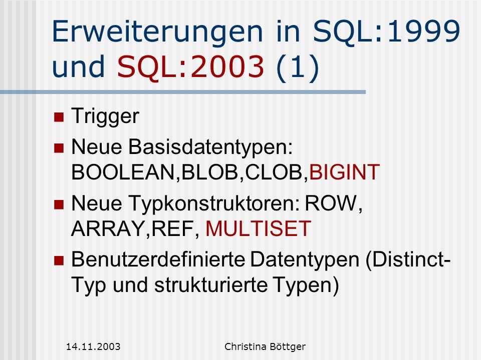 Erweiterungen in SQL:1999 und SQL:2003 (1)