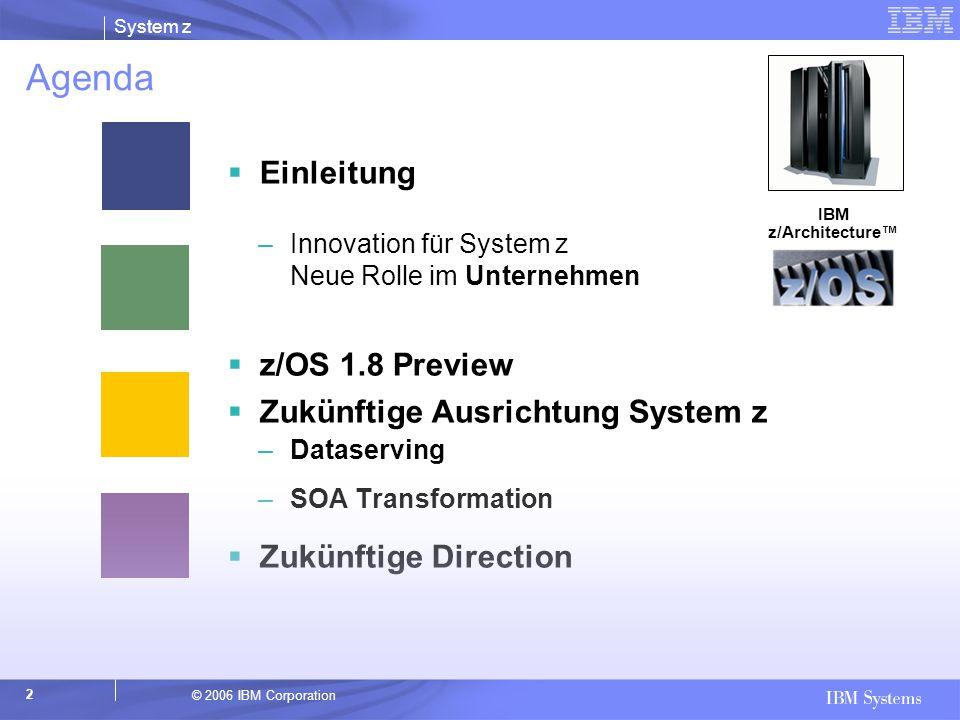 Agenda Einleitung z/OS 1.8 Preview Zukünftige Ausrichtung System z