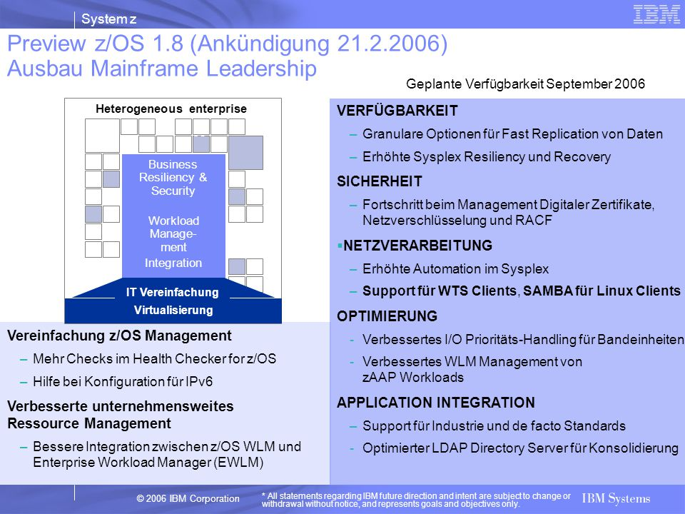 Preview z/OS 1.8 (Ankündigung 21.2.2006) Ausbau Mainframe Leadership