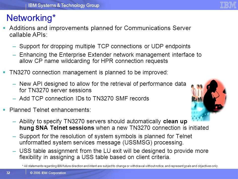 Networking* Additions and improvements planned for Communications Server callable APIs: