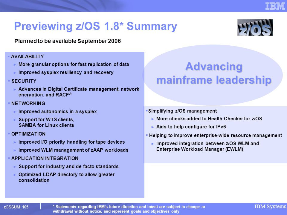 Previewing z/OS 1.8* Summary