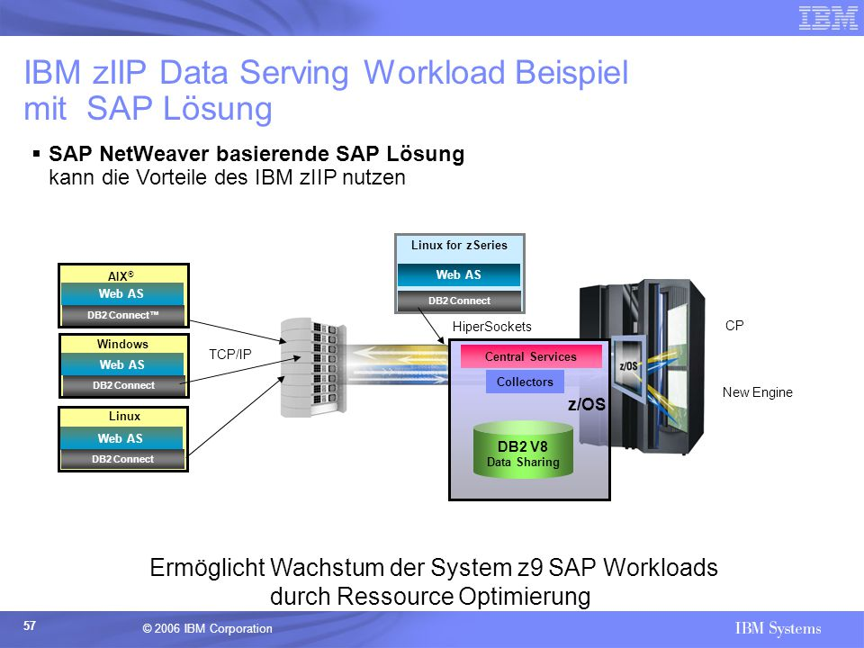 IBM zIIP Data Serving Workload Beispiel mit SAP Lösung