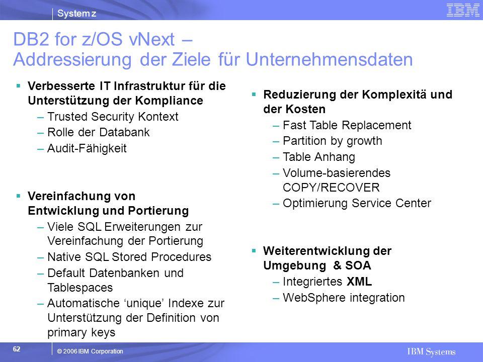 DB2 for z/OS vNext – Addressierung der Ziele für Unternehmensdaten