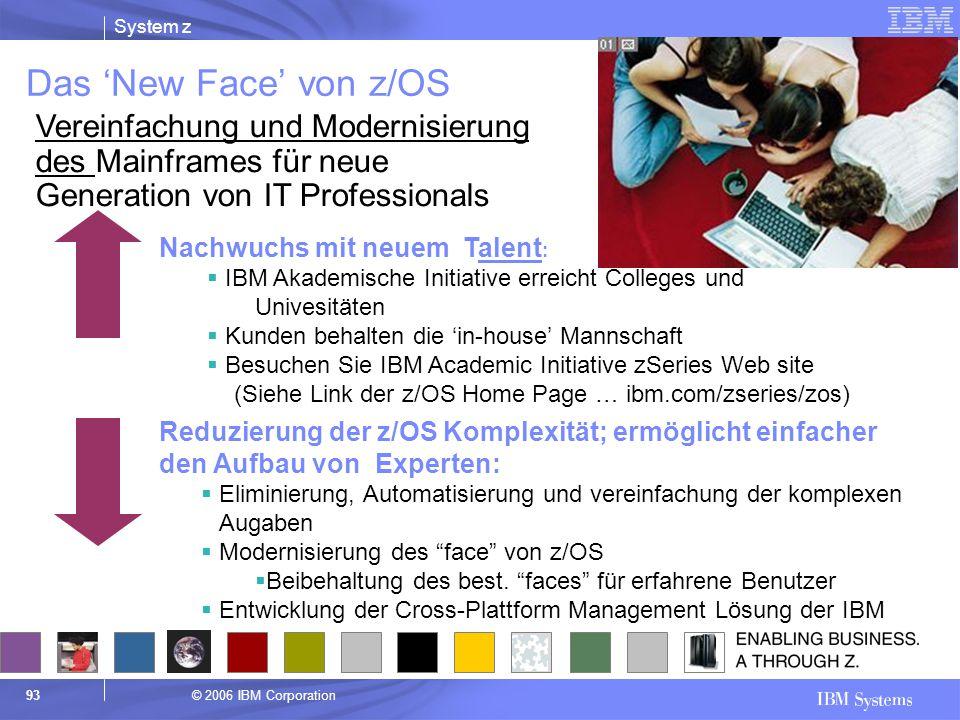 Das 'New Face' von z/OS Vereinfachung und Modernisierung des Mainframes für neue Generation von IT Professionals.