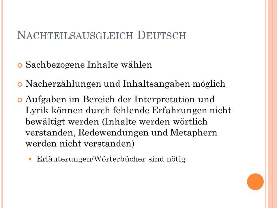 Nachteilsausgleich Deutsch
