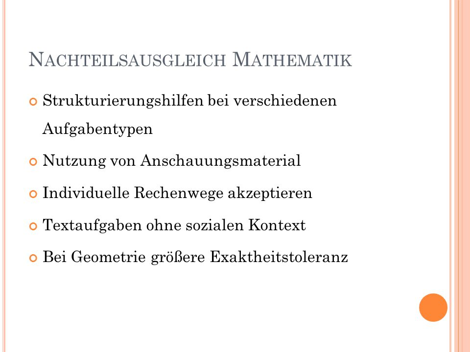 Nachteilsausgleich Mathematik