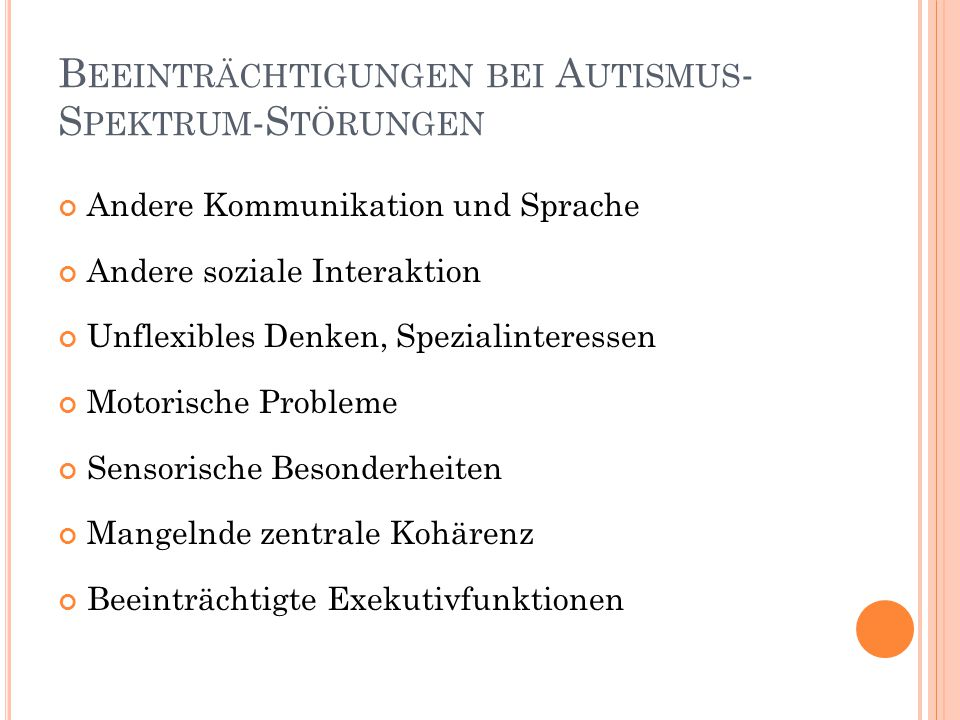Beeinträchtigungen bei Autismus-Spektrum-Störungen