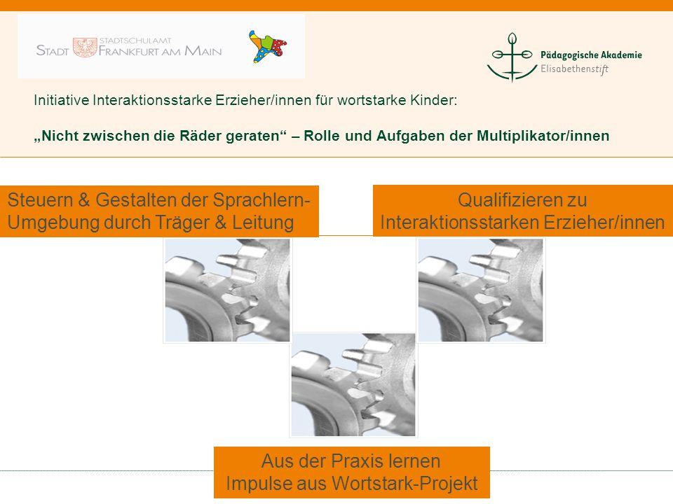 """Initiative Interaktionsstarke Erzieher/innen für wortstarke Kinder: """"Nicht zwischen die Räder geraten – Rolle und Aufgaben der Multiplikator/innen"""