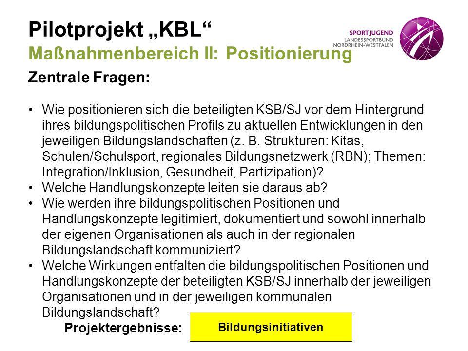 """Pilotprojekt """"KBL Maßnahmenbereich II: Positionierung"""