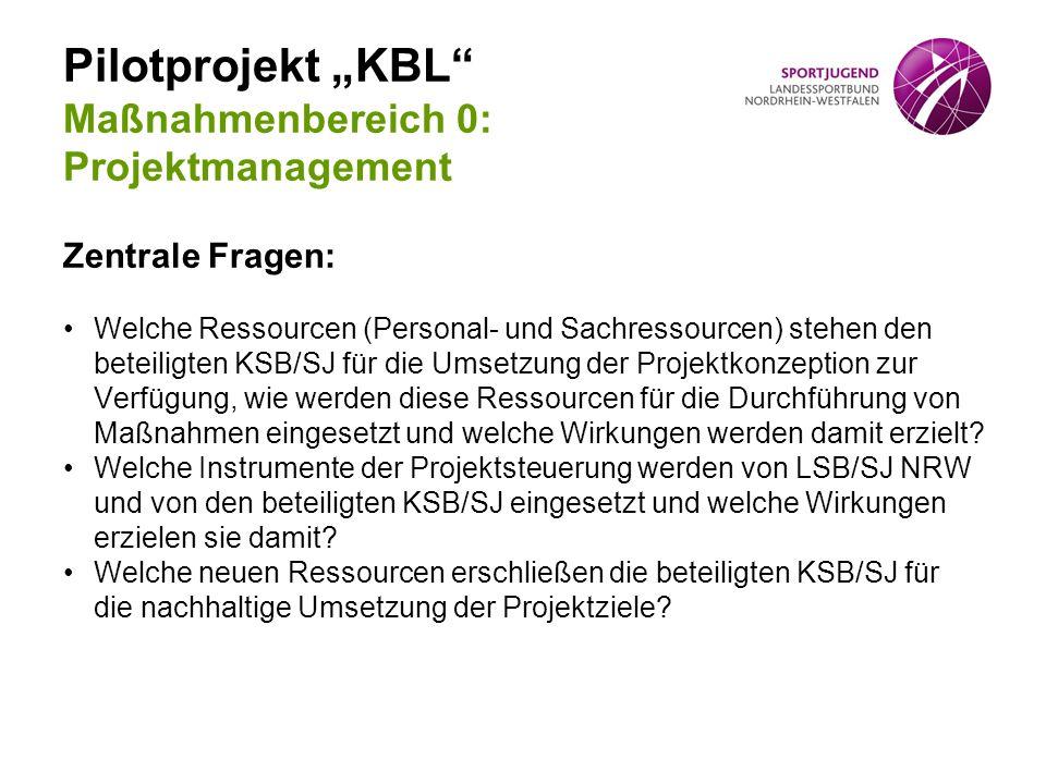 "Pilotprojekt ""KBL Maßnahmenbereich 0: Projektmanagement"