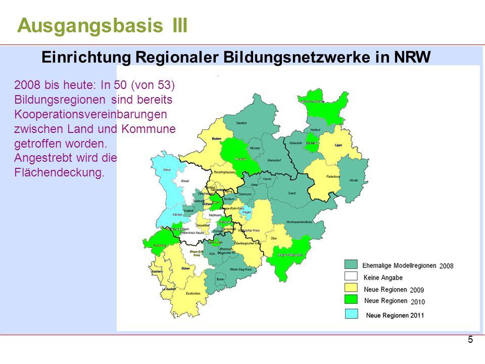 Ausgangsbasis III Einrichtung Regionaler Bildungsnetzwerke in NRW