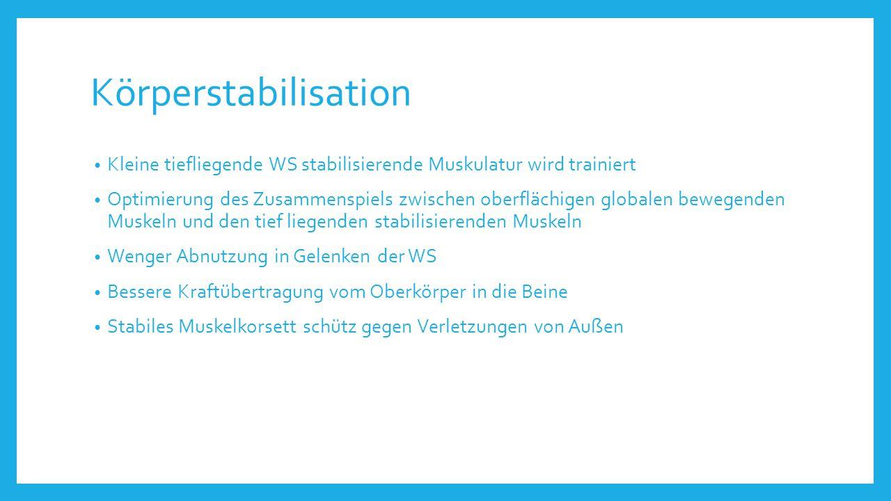Körperstabilisation Kleine tiefliegende WS stabilisierende Muskulatur wird trainiert.