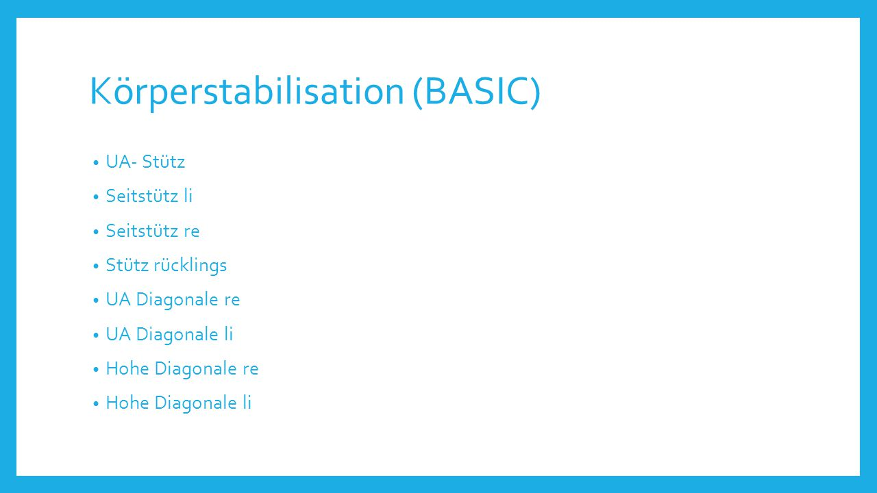 Körperstabilisation (BASIC)