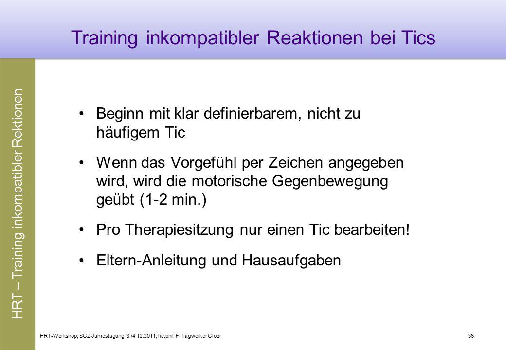 Training inkompatibler Reaktionen bei Tics